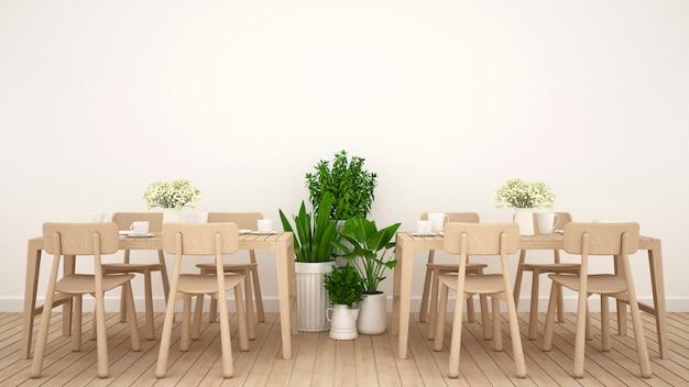 Salle à manger au design épuré d'un restaurant ou d'un café - rendu 3d