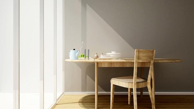 Salle à manger et balcon dans maison ou appartement.