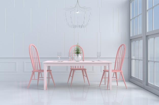 Salle à manger blanche de l'amour sur le décor de la saint-valentin avec chaise rose et bureau, fenêtre. 3d re