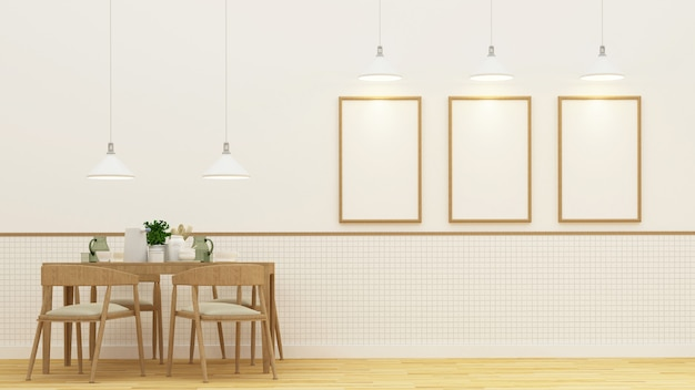 Salle à manger et cadre pour oeuvres d'art - rendu 3d