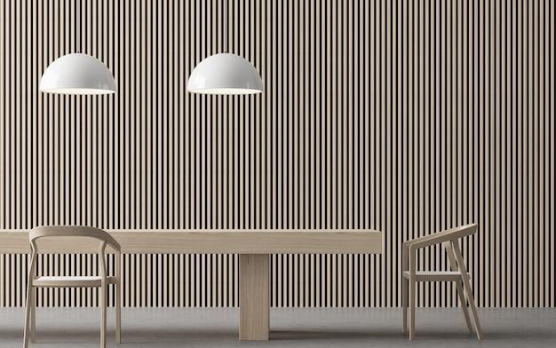 Salle à manger contemporaine moderne 3d rendre le sol en béton et décorer le mur avec un treillis en bois