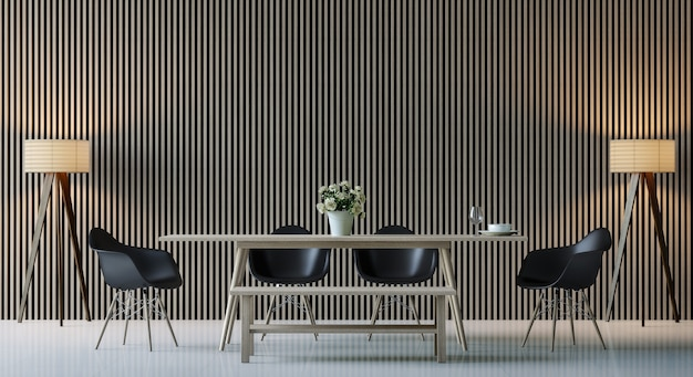 Salle à manger contemporaine moderne rendu 3d décorer le mur avec un motif en bois vertical