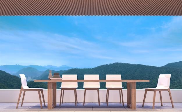 Salle à manger contemporaine moderne avec vue sur la montagne rendu 3d meublé avec des meubles en bois