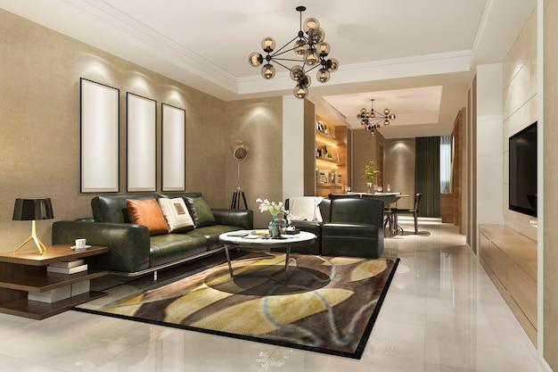 Salle à manger et cuisine moderne avec rendu 3d et salon de luxe