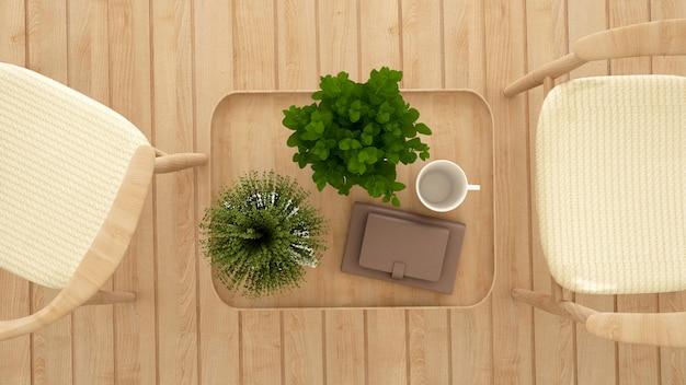 Salle à manger dans un café ou un restaurant vue de dessus - rendu 3d