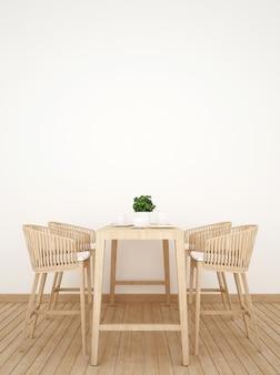 Salle à manger sur image verticale de conception en bois - rendu 3d