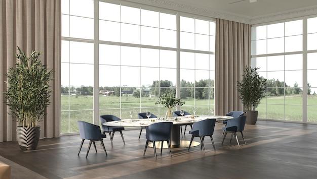 Salle à manger de luxe avec lumière du soleil illustration de rendu 3d élégant et lumineux design d'intérieur beige