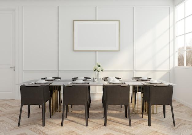 Salle à manger de luxe moderne avec table et chaise, mur blanc et cadre photo