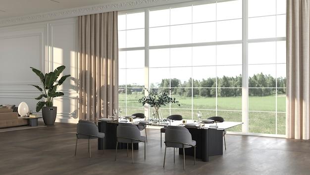 Salle à manger de luxe avec panorama sur le soleil et la nature illustration de rendu 3d design d'intérieur beige