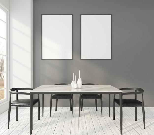 Salle à manger minimaliste avec cadres. rendu 3d