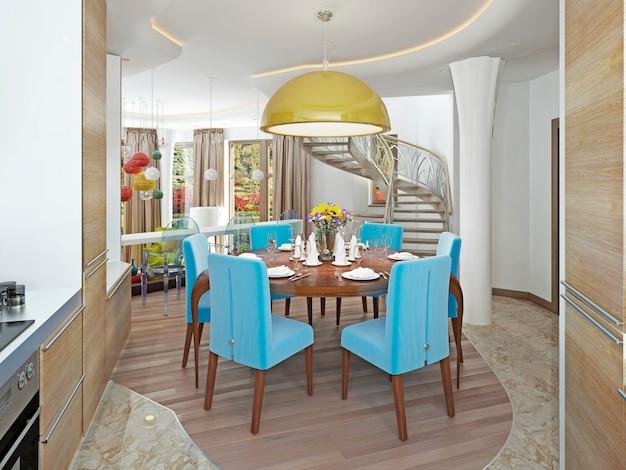 Salle à manger moderne avec cuisine dans un style kitsch branché