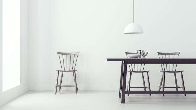 Salle à manger moderne et fond blanc