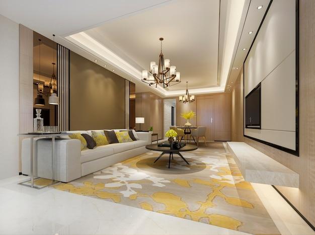 Salle à manger moderne de rendu 3d et salon jaune avec décor de luxe