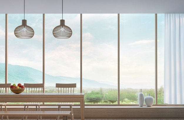 Salle à manger moderne avec rendu 3d vue sur la montagne