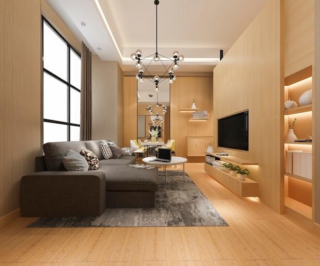 Salle à manger moderne et salon à la décoration luxueuse