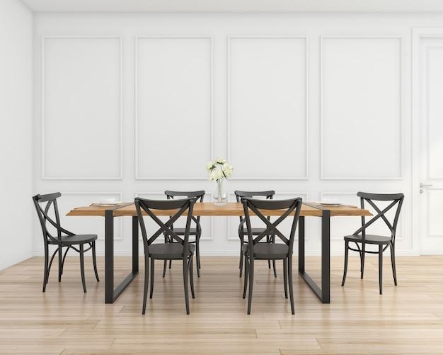 Salle à manger moderne avec table et chaise loft, mur blanc