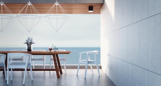 Salle à manger de la plage vue mer / rendu 3d