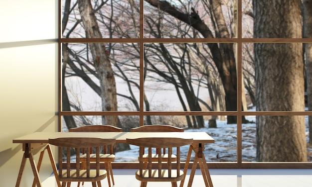 Salle à manger avec rayon de soleil à travers. table en bois et chaise en bois