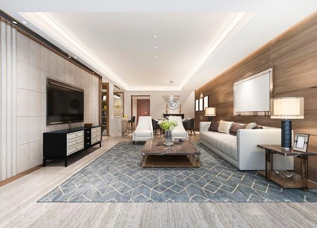Salle à manger et salon moderne au rendu 3d avec décor de luxe avec cadre photo