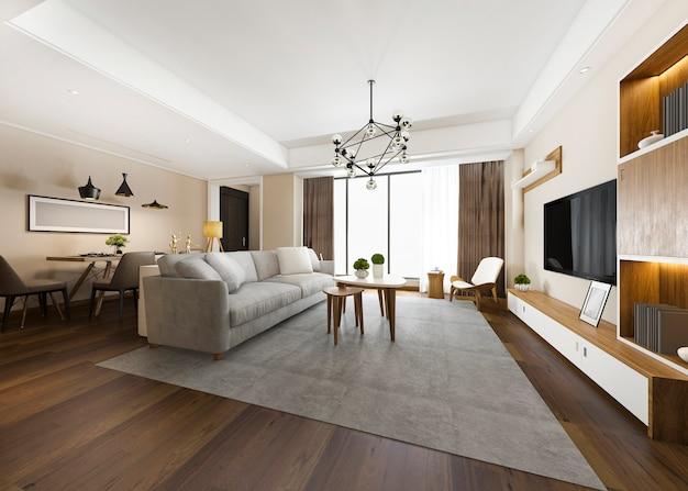 Salle à manger et salon moderne au rendu 3d avec décor de luxe