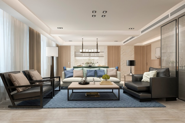 Salle à manger et salon moderne de rendu 3d près de la cuisine avec un décor de luxe