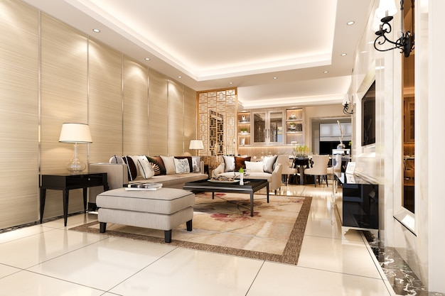 Salle à manger et salon modernes au décor luxueux