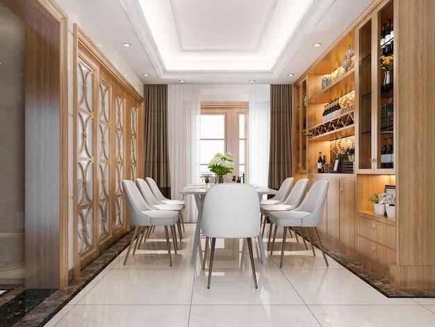 Salle à manger et salon modernes au rendu 3d avec étagère à vin de décoration de luxe