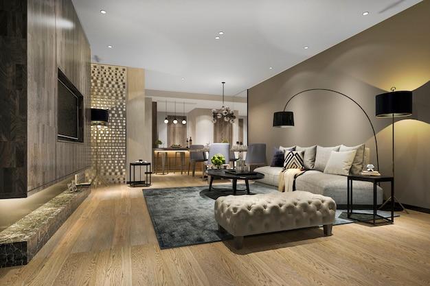 Salle à manger et salon modernes avec un décor de luxe
