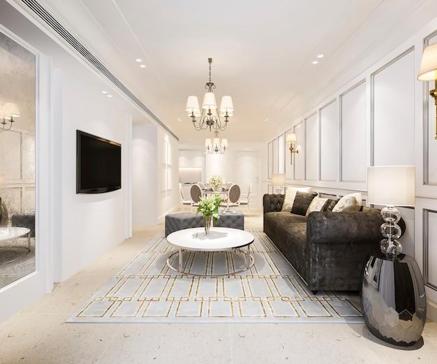 Salle à manger et salon modernes avec une décoration de luxe