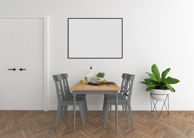 Salle à manger scandinave avec cadre horizontal