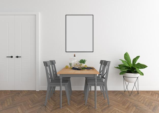 Salle à manger scandinave avec cadre vertical
