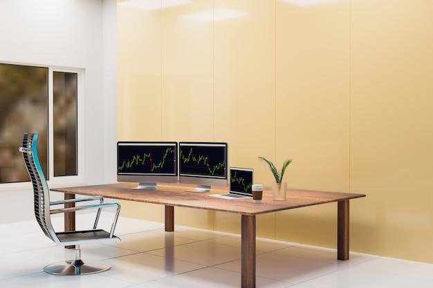 Salle des marchés et travail des gens d'affaires, rendu d'illustration 3d