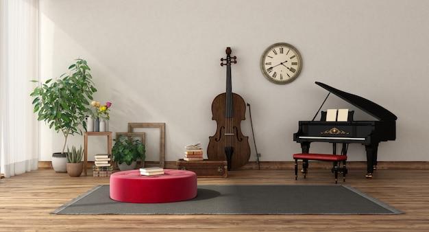 Salle de musique avec piano à queue et contrebasse
