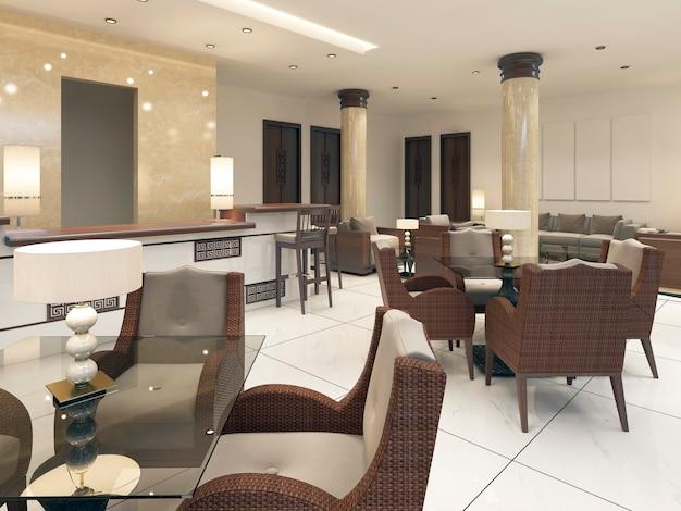 Salle de petit-déjeuner au design moderne avec des meubles en rotin et des tables en verre. rendu 3d.