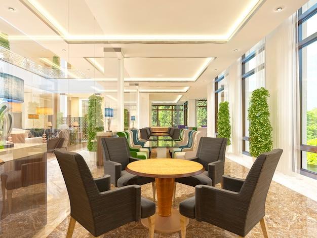 Salle de petit-déjeuner design de luxe dans le bâtiment de l'hôtel. tables en bois avec chaises marron pour quatre personnes rendu 3d.