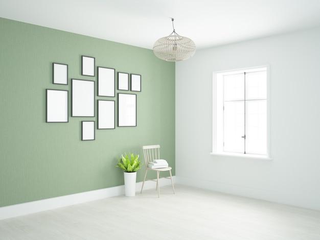 Salle presque vide avec mur vert et photos au mur
