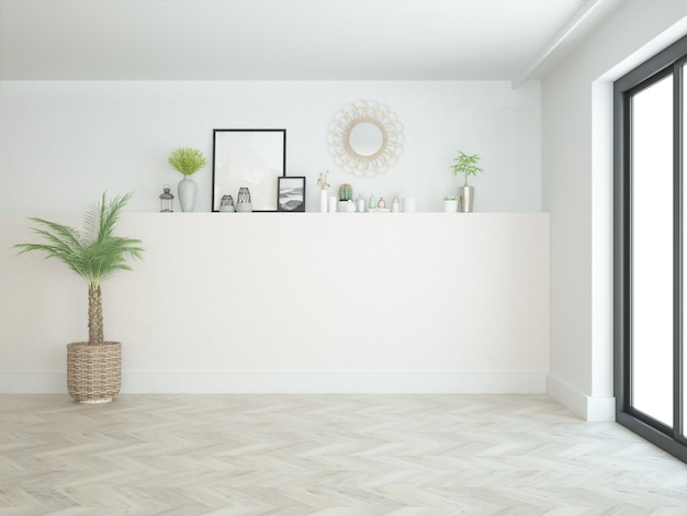 Salle presque vide avec de petites décorations et plancher de bois franc