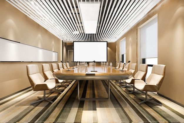 Salle de réunion d'affaires de rendu 3d dans un immeuble de bureaux