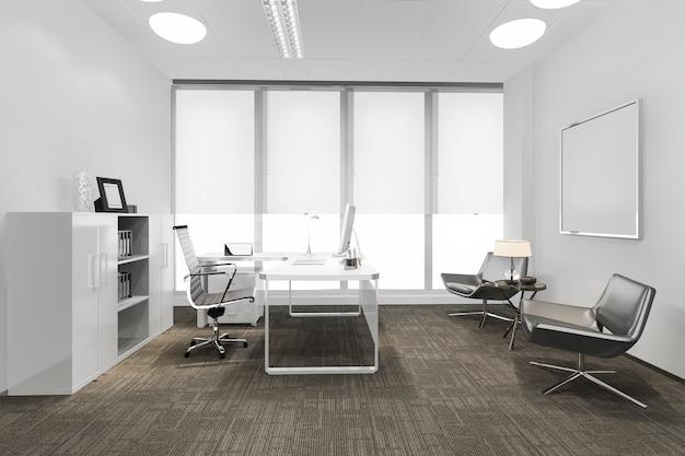 Salle de réunion d'affaires de rendu 3d sur l'immeuble de bureaux de grande hauteur