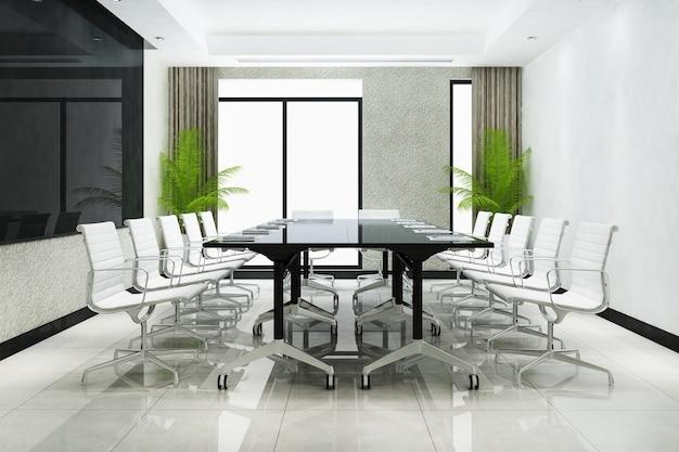 Salle de réunion d'affaires de rendu 3d sur un immeuble de bureaux de grande hauteur