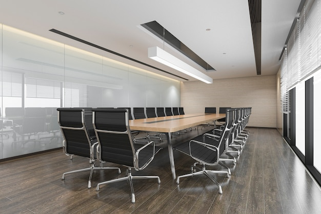 Salle de réunion d'affaires rendu 3d sur immeuble de bureaux de grande hauteur