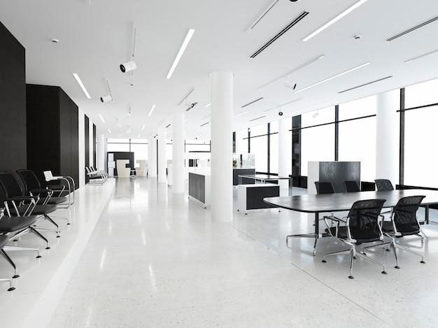 Salle de réunion d'affaires rendu 3d sur immeuble de bureaux