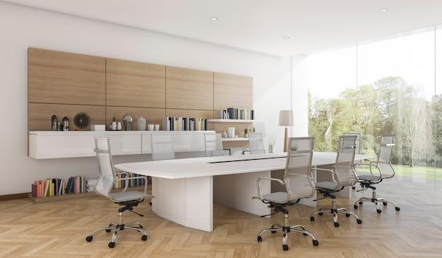 Salle de réunion d'affaires rendu 3d avec style bois contemporain