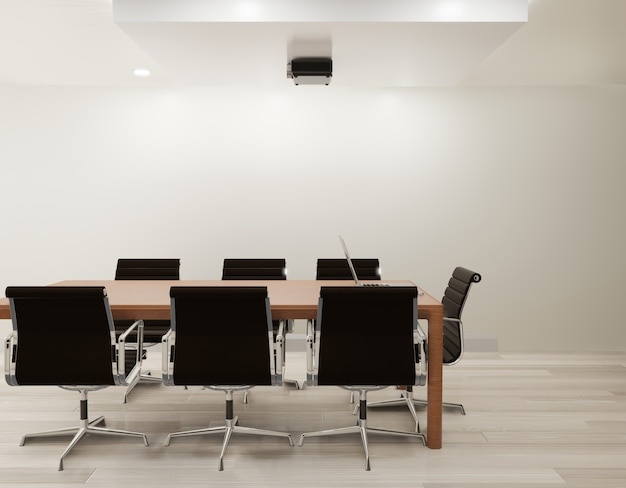 Salle de réunion avec mur blanc, espace de copie de plancher en bois rendu 3d