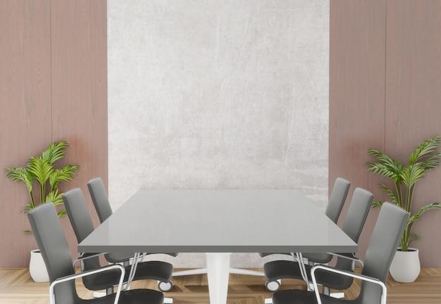 Salle de réunion en rendu 3d avec chaises, table et petit arbre