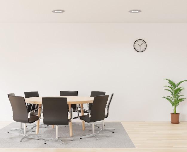 Salle de réunion en rendu 3d avec chaises, table ronde en bois, salle blanche, tapis et petit arbre