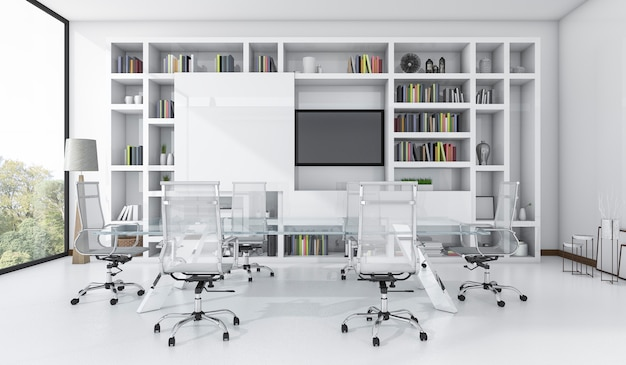 Salle de réunion de rendu 3d avec design blanc