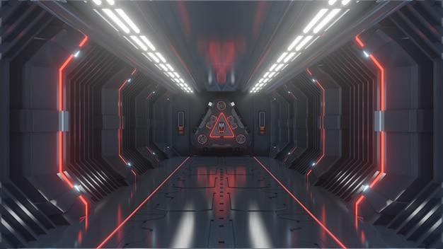 Salle de science-fiction futuriste sombre et sombre, couloir de vaisseau spatial, lumière rouge
