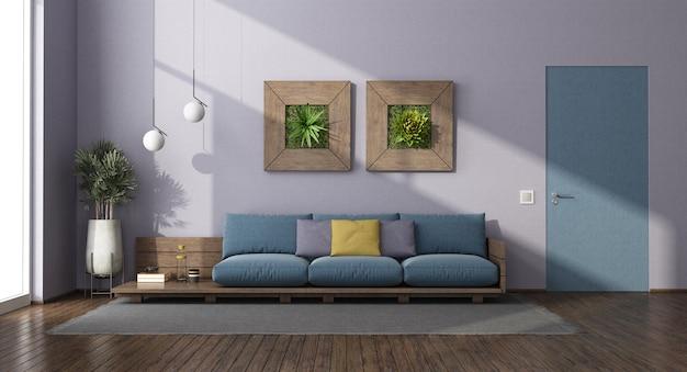 Salle de séjour avec canapé en bois, porte murale affleurante et plantes d'intérieur - rendu 3d