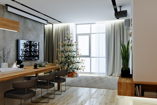 Salle de séjour dans un style moderne avec arbre de noël